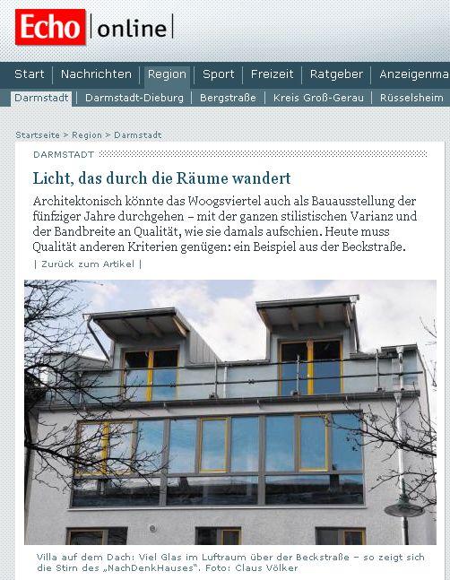 Artikel im Darmstädter Echo zum NachDenkHaus von Klaus Honold